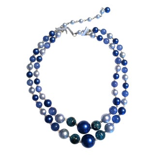 1960s Blue Beaded Double Strand Necklace