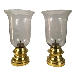Sarreid Brass & Glass Hurricanes - A Pair