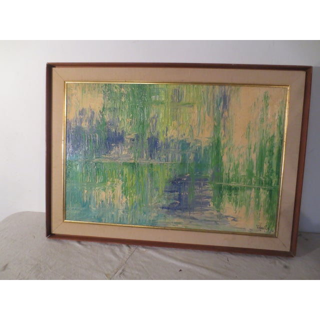 Image of V. Hoople 60's Green & Blue Abstract Oil Painting