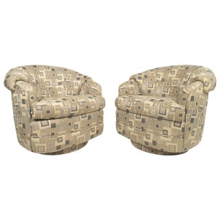 Thayer Coggin Style Round Lounge Chairs - a Pair