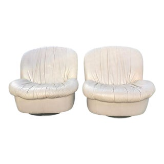 Vintage Leather Swivel Slipper Chairs - A Pair