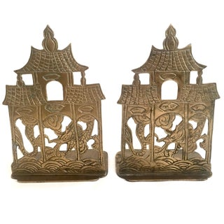 Asian Deco Brass Bookends - Pair