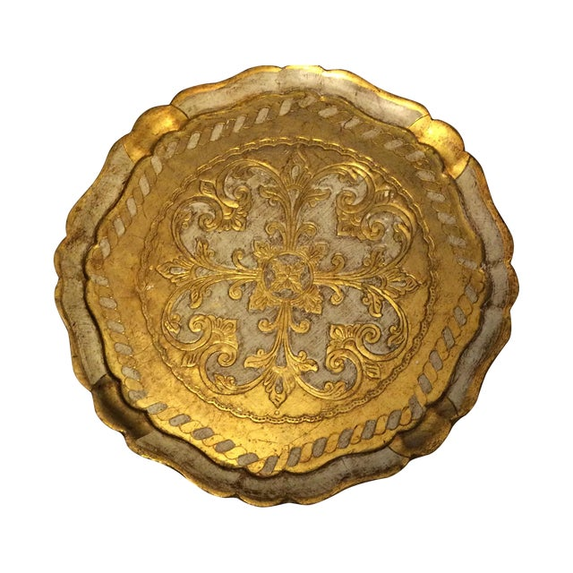 Florentine Gold & Cream Wooden Tray - Image 1 of 4