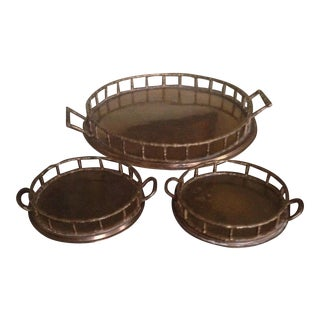 Vintage Brass Faux Bamboo Trays - Set of 3