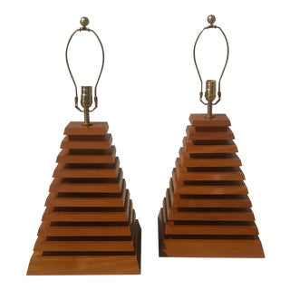 Mid-Century Modern Lamp Wood Stacked Pyramid -- A Pair