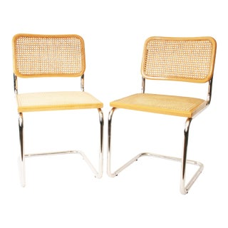 Chrome & Caned Italian Chairs - A Pair
