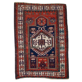 1900s Hand Made Antique Caucasian Kazak Prayer Rug - 3′9″ × 5′2″