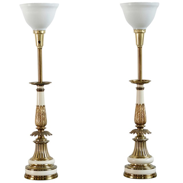 Image of Hollywood Regency Brass Stiffel Lamps - Pair