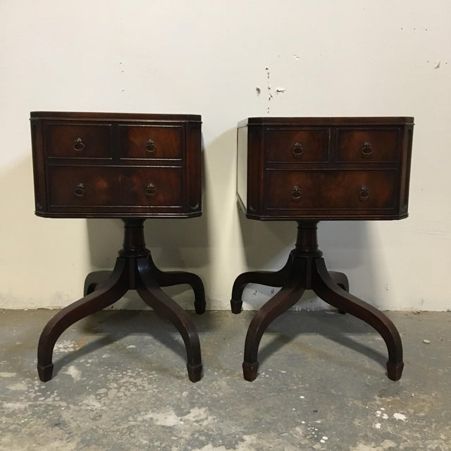 Tooled Leather Topped Side Tables - A Pair - Image 2 of 8