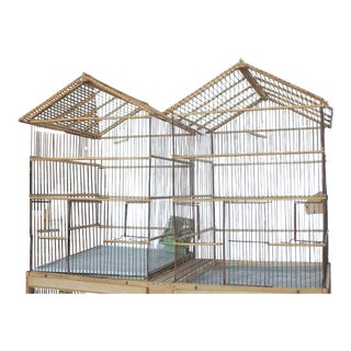 Large Antique English Bird Wood Cage