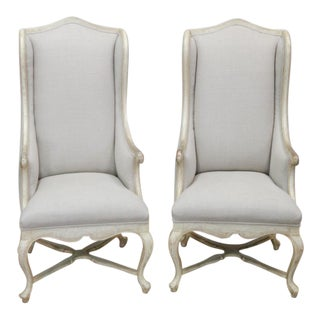 High Back Linen Side Chairs - A Pair