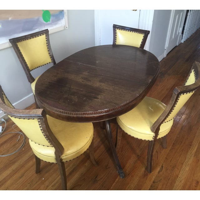 Image of Yellow Leather Dining Set