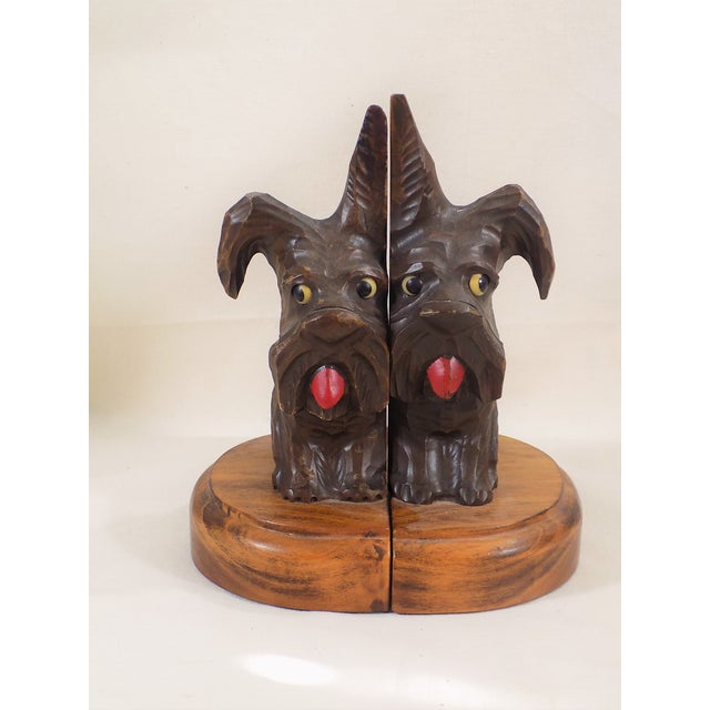 Hand Carved Black Forest Scottie Bookends - Pair - Image 2 of 5