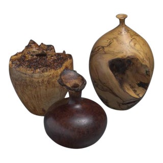 Set of Three Turned Burl Wood Vases, Hap Sakwa, Ron Pisani, USA, 1980s