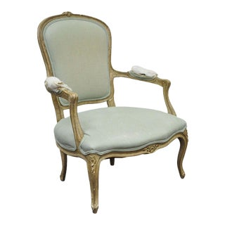 Vintage French Louis XV Style Distress Paint Carved Bergere Lounge Arm Chair