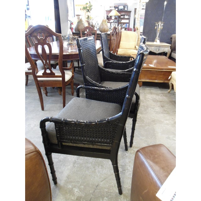 Palecek Black Bamboo Framed Chairs - Set of 4 - Image 4 of 5