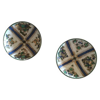 1960's Enamel Taper Candle Holders - A Pair