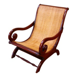 Antique Mahogany & Cane Plantation Chair