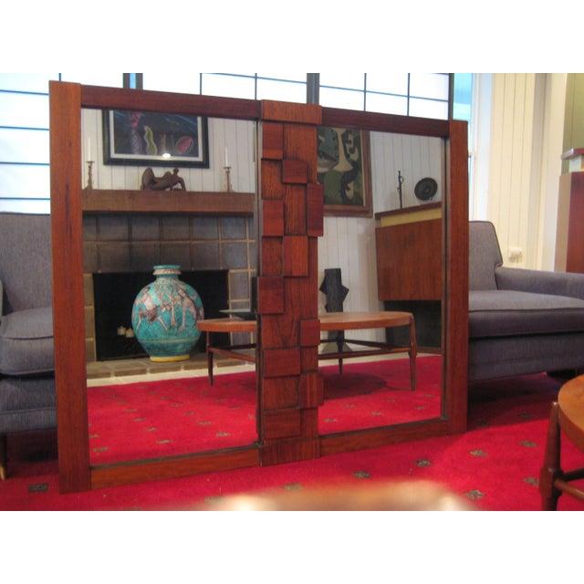 Large Wood Mosaic Brutalist Modern Mirror by Lane - Image 2 of 6