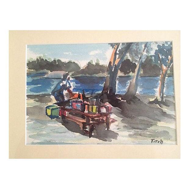 1960s German Picnic Watercolor Chairish