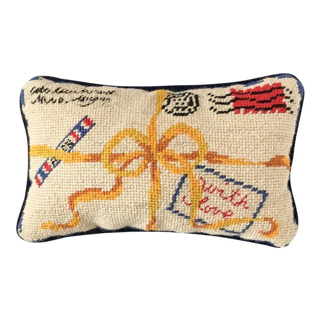 "French Style ""With Love"" Par Avion Letter Needlepoint Pillow - Image 1 of 5"