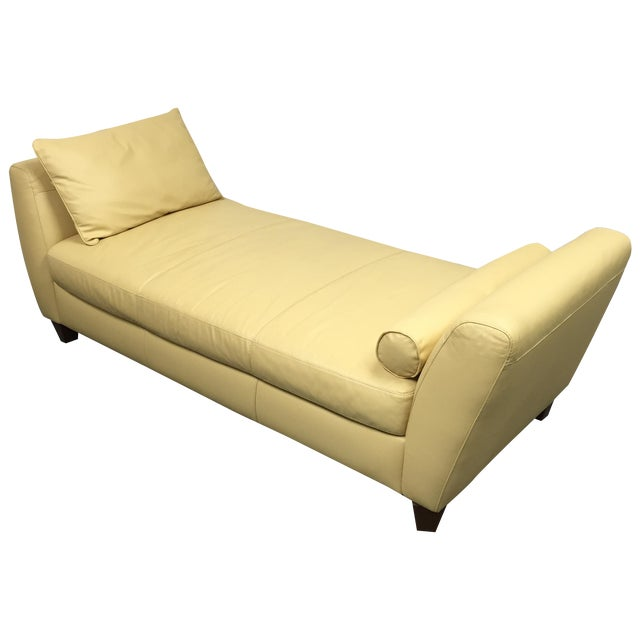 Contemporary Yellow Leather Chaise with Pillows - Image 1 of 11