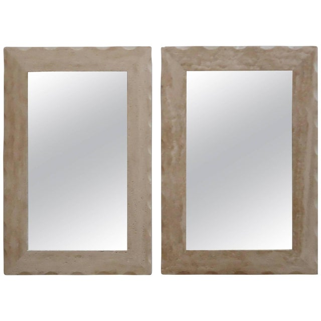 Modern Travertine Mirrors - A Pair - Image 1 of 5