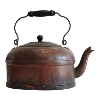 Antique Copper Kettle With Wood Turned Handle