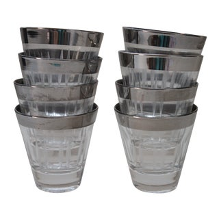 Silver Rimmed Shot Glasses - Set of 8