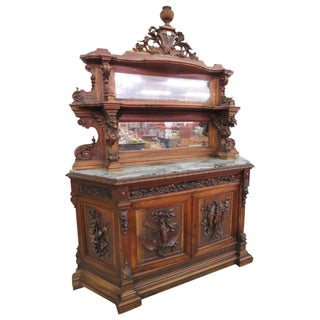 19th C. Italian Figural Carved Marbletop Cabinet