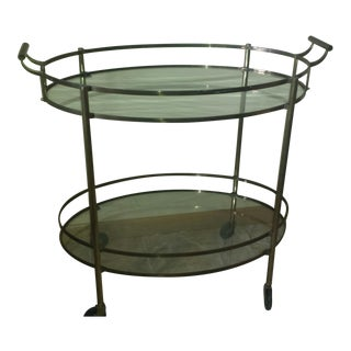 Oval Brass & Glass Tea Table on Wheels