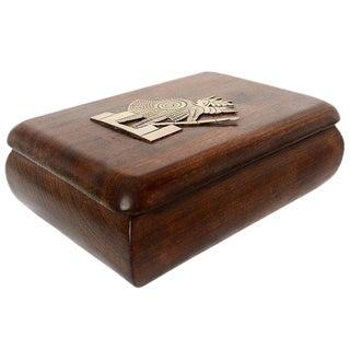 Mahogany with Silver Emblem Jewelry Box