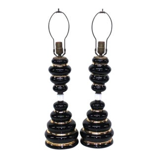 Black & Gold Ceramic Table Lamps - A Pair