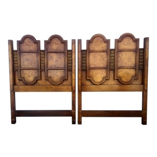 Burlwood and Metal Twin Headboards - A Pair