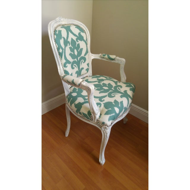 Vintage Victorian Ikat Print Arm Chair - Image 5 of 5