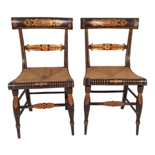 Pair of Neoclassical Fancy Painted Klismos Chairs
