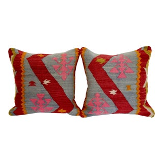 Blue & Red Turkish Kilim Pillows - A Pair