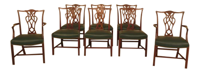Chippendale Mahogany Dining Room Chairs   Set Of 8