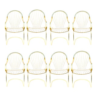 Willy Rizzo for Cidue Brass Cantilever Arm Chairs - Set of 8