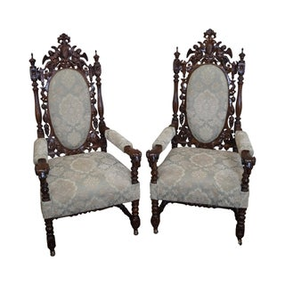 Antique Renaissance Figural Carved Arm Chairs - A Pair