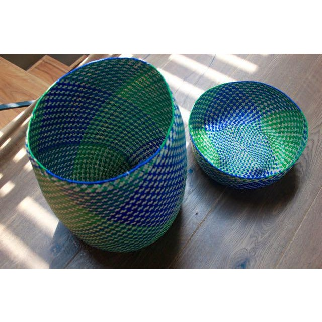 Hand-Woven Tenate Oaxacan Basket in Yellow & Blue - Image 5 of 5
