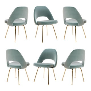 Saarinen Executive Armless Chairs in Celadon Velvet, 24k Gold Edition - Set of 6