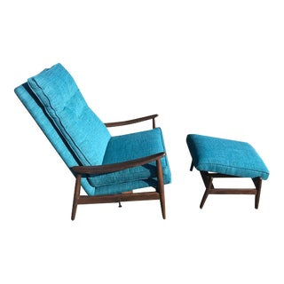 Milo Baughman James Inc. Reclining Lounge Chair & Ottoman
