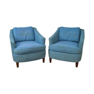 Mid Century Modern Pair of Dunbar Style Lounge Chairs