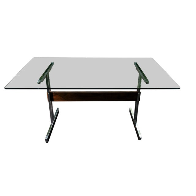 Modern Glass & Chrome Dining Table / Desk - Image 1 of 4