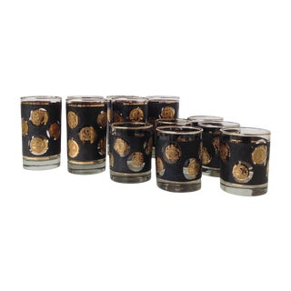 Gilt Coin Embossed High & Lowball Glasses - Set/12