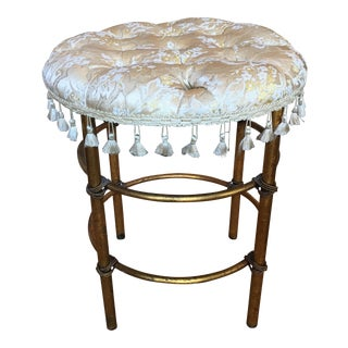 Antique Gilded & Tufted Stool