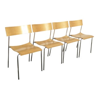 Lammhults Mobel Ab Mid-Century Wood & Chrome Accent Chairs - Set of 4