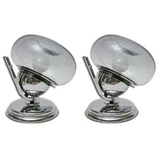 1960s Italian Chrome & Glass Table Lights - A Pair