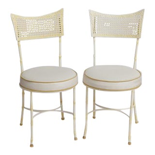 Mid-Century Wrought Iron Faux Bamboo & Cane Chairs - A Pair